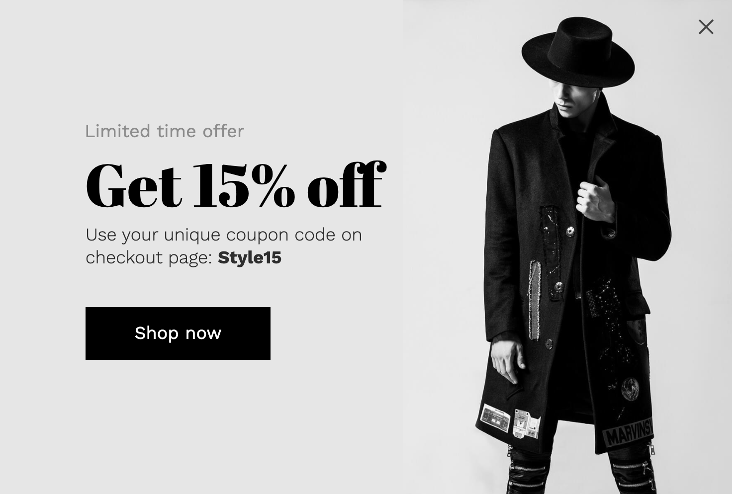 Limited-time offer popup with a suave feel